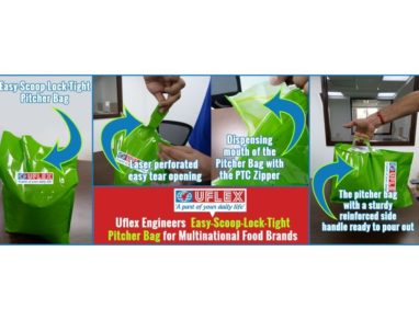 Uflex engineers easy-scoop-lock-tight pitcher bag for multinational food brands